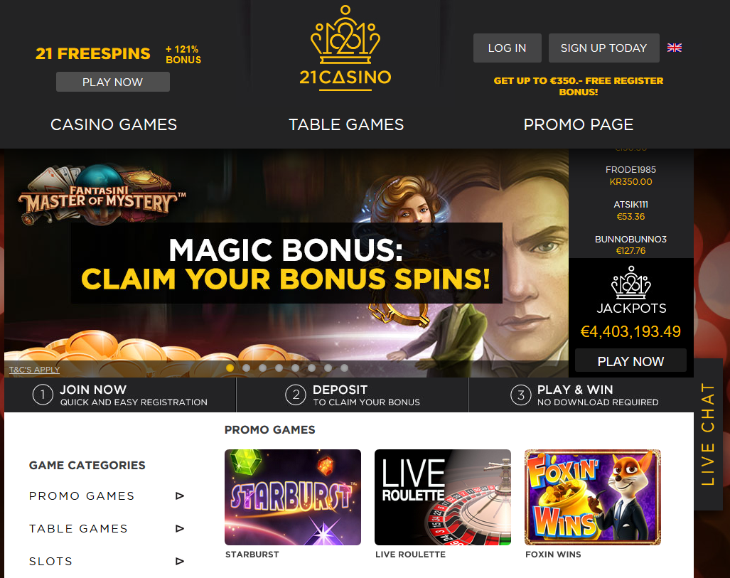 21 online casino review